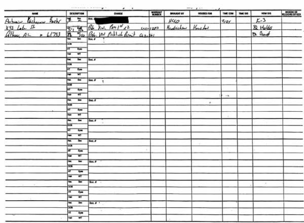 Houston County Jail Docket for 11-05-13