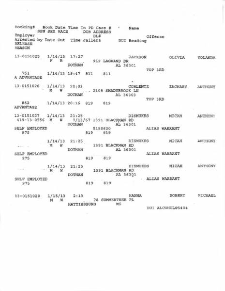 Dothan City Jail Docket for 01-14-13