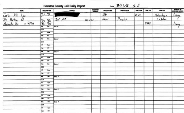 Houston County Jail Docket for 03-26-13