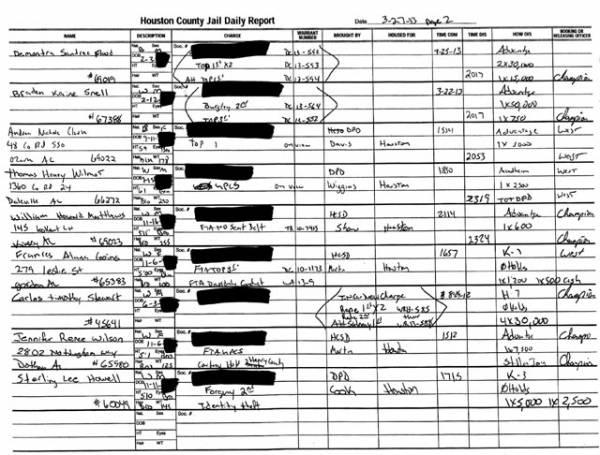 Houston County Jail Docket for 03-27-13
