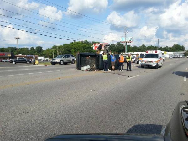 Vehicle Flips on Montgomery Hwy