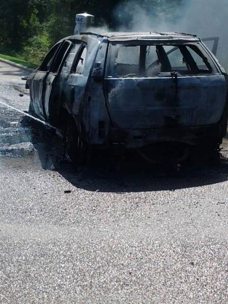 Car Catches Fire Near Fuel Pumps on US 231