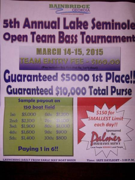5th annual lake seminole open team bass tournament for Open bass fishing tournaments