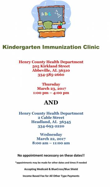 Kindergarten Immunization Clinic/Henry County Health Department
