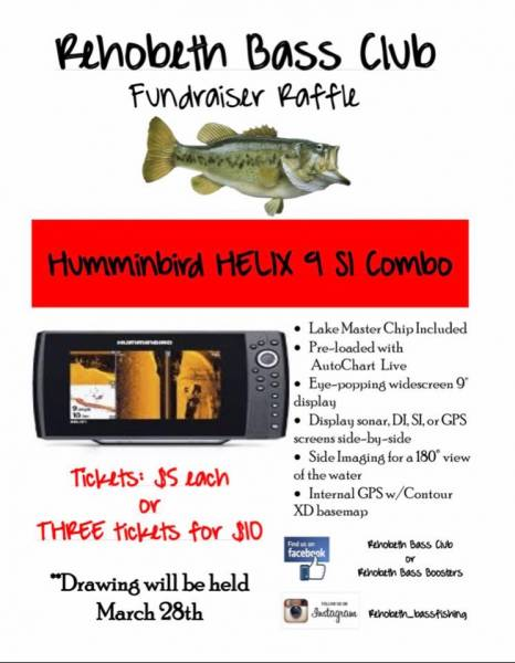 Rehobeth Bass Club Humminbird Raffle Fundraiser