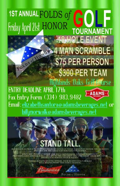 1st Annual Fold of Honor Golf Tourament Coming in April
