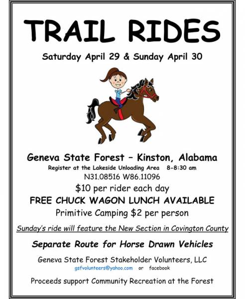 Trail Rides Set for April 29th and 30th