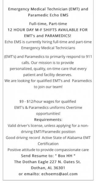 EMT's and Paramedic's Needed - Full amd Part Time
