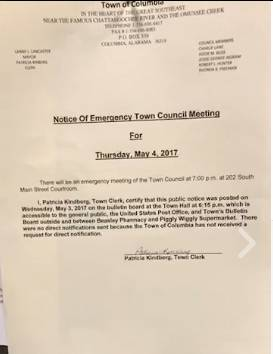 Special Called EMERGENCY Meeting Called for Tomorrow Night in Columbia