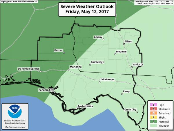 Marginal Risk for Severe Weather Tonight