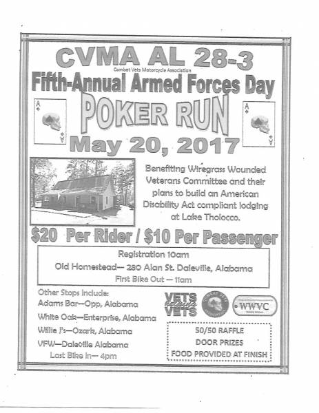 Fifth Annual Armed Forces Day Poker Run