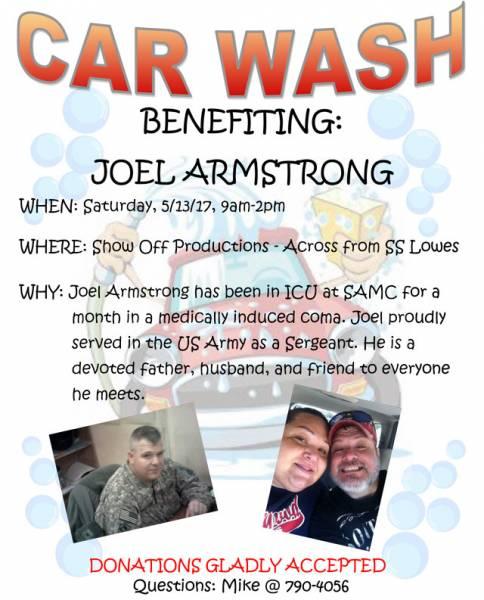 Car Wash Benefitting Joel Armstrong