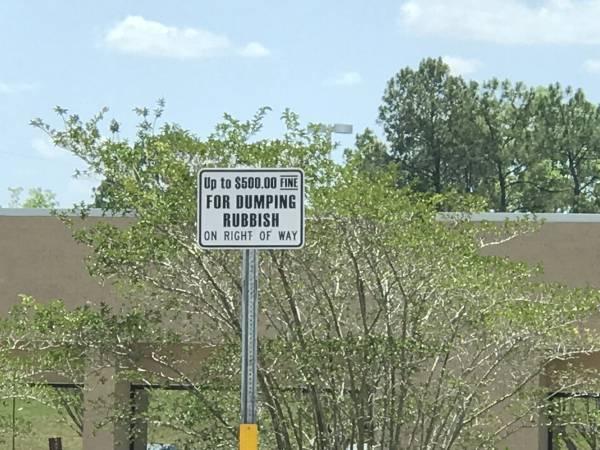 NO MORE - NO MORE - $ 500 Fine For Dumping