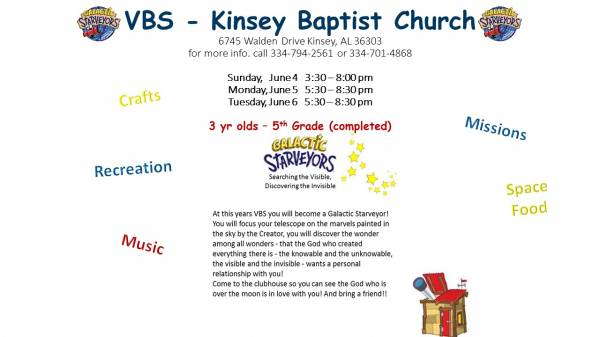 Kinsey Baptist Church Hosting Vacation Bible School
