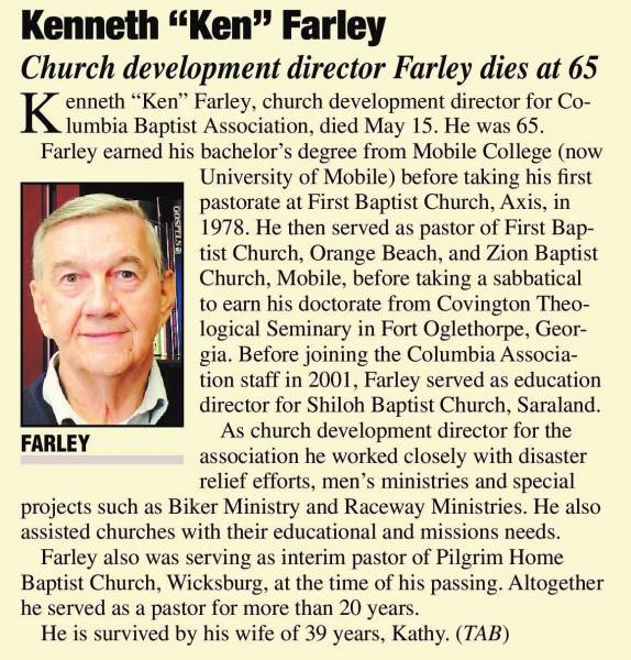 Celebration of Life Service for Ken Farley