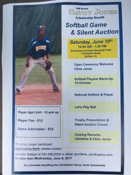 3rd Annual Savoy Jones Softball Game and Silent Auction