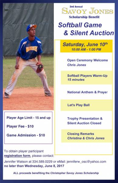 3rd Annual Savoy Jones Softball and Silent Auction