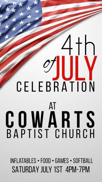Fourth of July on July 1st at Cowarts Baptist