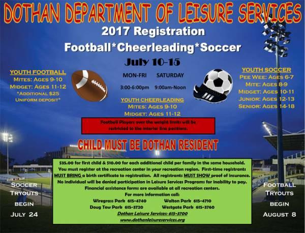 2017 Soccer, Football & Cheer Registration