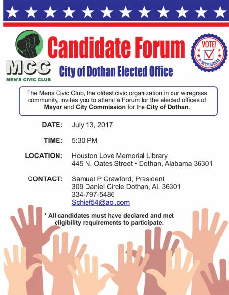 Candidate Forum to be Held July 13th