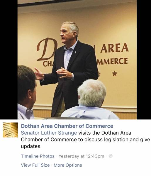 The Tall Coward - LUTHER STRANGE - Sneaks Into Dothan Friday
