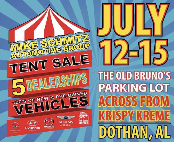 Mike Schmitz autimotive group tent sale going on this week July 12-15