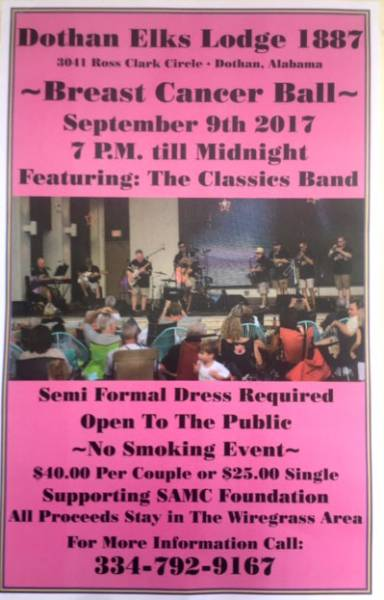 Dothan Elks Lodge 1887 will Host a Breast Cancer Ball