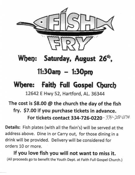 Faith Full Gospel Church hosting a Fish Fry