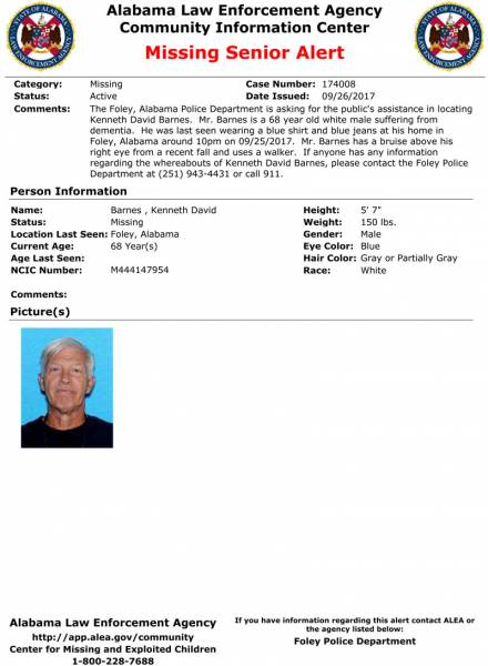 UPDATED at 11:08 AM Alabama Law Enforcement Agency Issues Missing Senior Alert