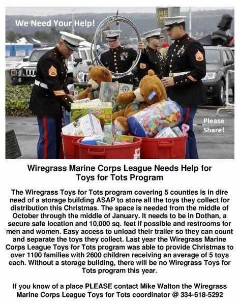 Toys for Tots Needing Warehouse Space