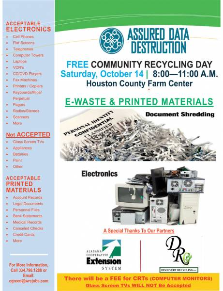 COMMUNITY RECYCLING EVENT TO BE HELD OCTOBER 14