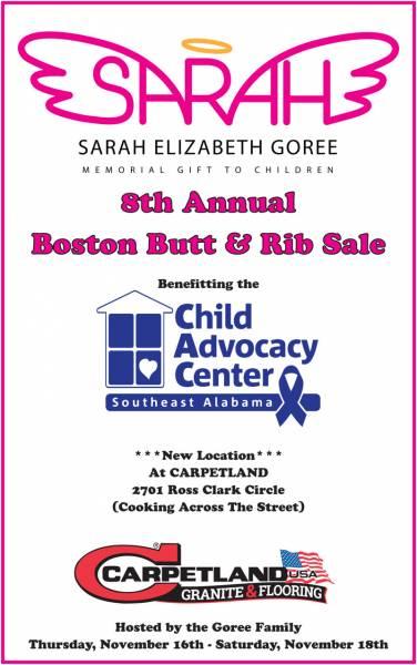 8th Annual Sarah Elizabeth Goree Boston Butt & Rib Sale