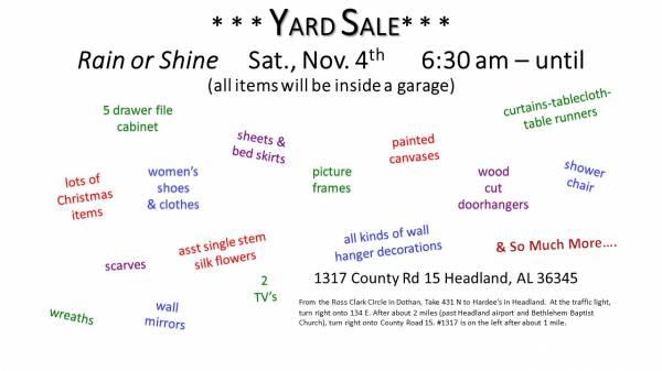 Yard Sale !!!! Yard Sale !!!!