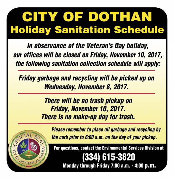 City of Dothan Sanitation Collection Schedule for Veteran's Day Holiday