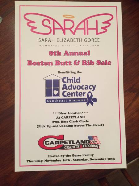 8th Annual Sarah Elizabeth Goree Boston Butt & Rib Sale