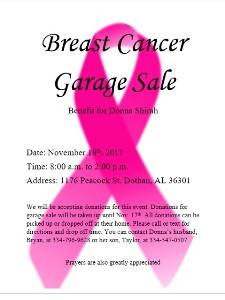 Brest Cancer Garage Sale Benifit