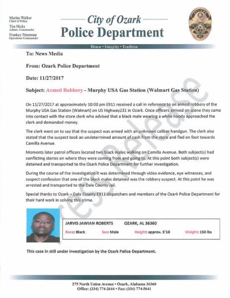 Press Release on Last Nights Robbery in Ozark