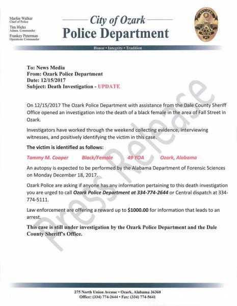 Updated on Ozark Murder Investigation