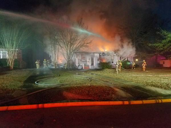 UPDATED @ 6:48 AM. 5:34 AM.  Two Structure Fires Side By Side - One Total Loss