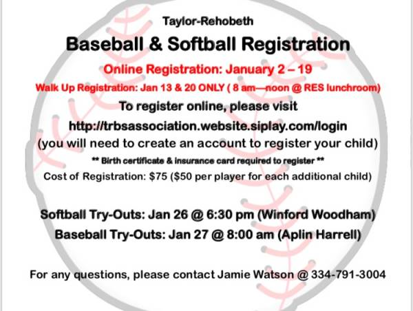 Taylor-Rehobeth Baseball and Softball Registration