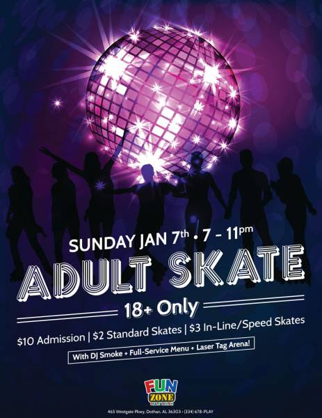 Fun Zone to Host Adult Skate Sunday January 7th