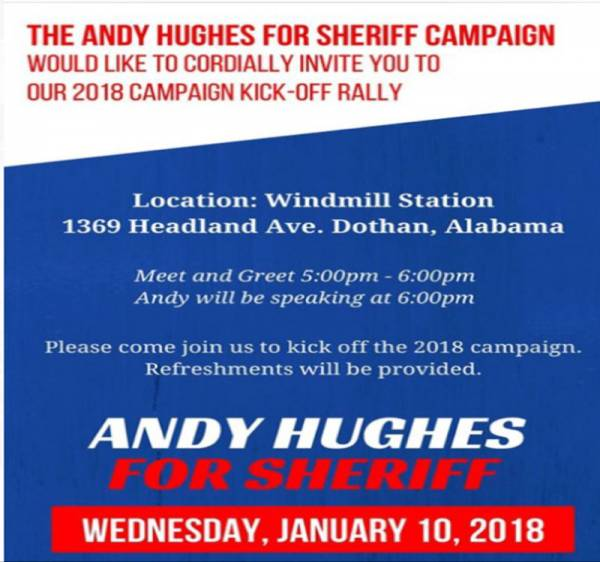 2018 Campaign Kick Off for Andy Hughes Set for Tonight