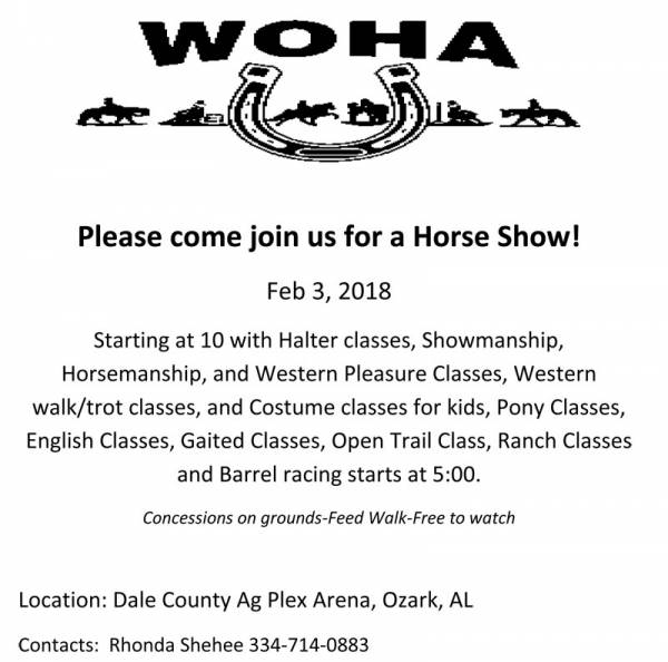 Horse Show Set for Feb 3rd