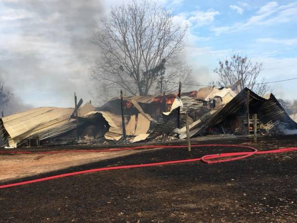 UPDATED at 9:20 PM... Grass Fire Claims Barn on Dale County Road 549