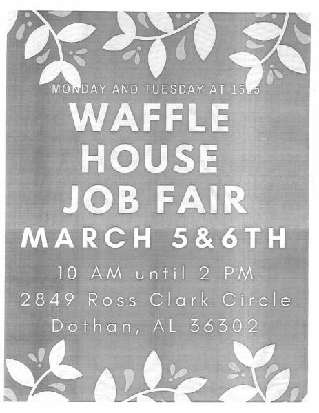 Job Fair Today and Tomorrow at Waffle House
