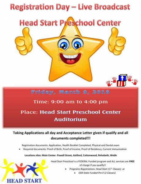 Registration Day is Here... Head Start