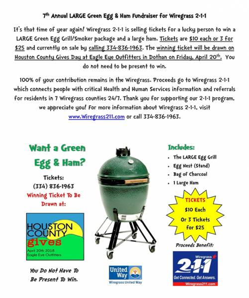 7th Annual LARGE Green Egg & Ham Fundraiser for Wiregrass 2-1-1