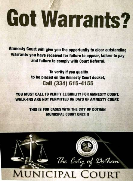 GOT WARRANTS???? ONE TIME ONLY!!!!!