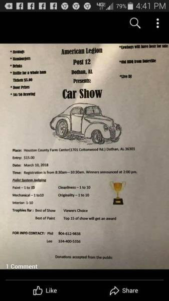 American Legion Post 12 is Hosting a Car Show