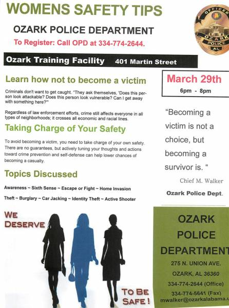 Ozark Police Hosting Womens Safety Tips
